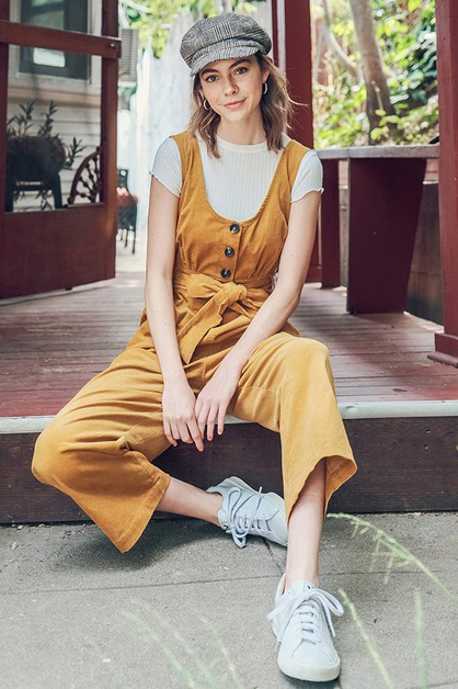 BUTTON DOWN CORDUROY JUMPSUIT - orangeshine.com