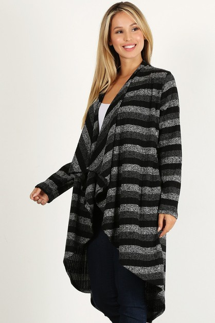 STRIPE DRAPED NECK CARDIGAN - orangeshine.com