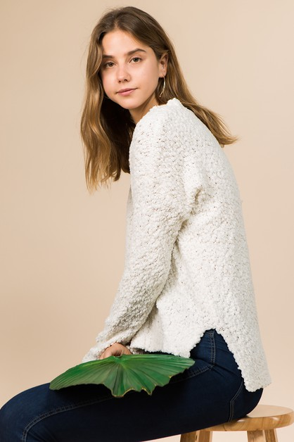 V NECK LONG SLEEVE POPCORN SWEATER - orangeshine.com