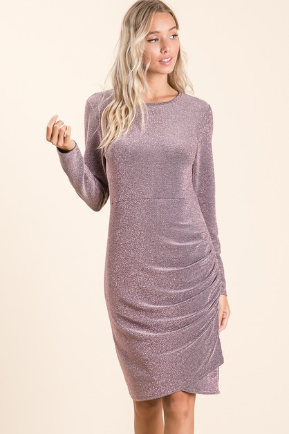LONG SLEEVE GLITTERING DRESS - orangeshine.com