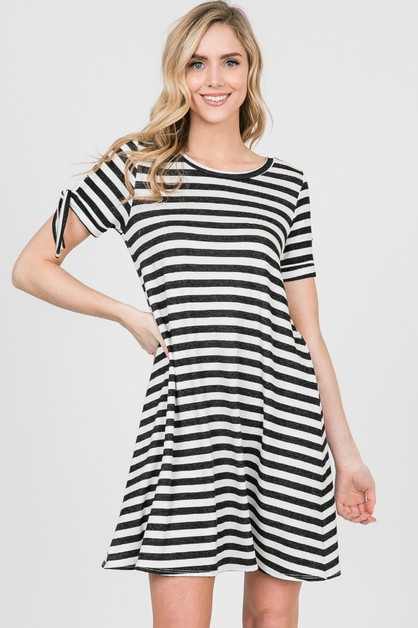 FRENCH TERRY STRIPE SHORT SLV DRESS - orangeshine.com
