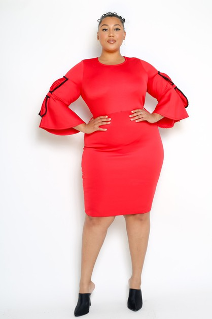 Plus Size Bow Sleeve Bodycon Party D - orangeshine.com