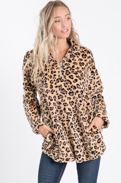 LONG SLEEVE ANIMAL PRINT FAUX FUR ZI - orangeshine.com