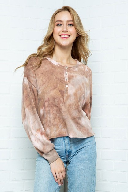 TIEDYE THERMAL MID BUTTON DOWN TUNIC - orangeshine.com