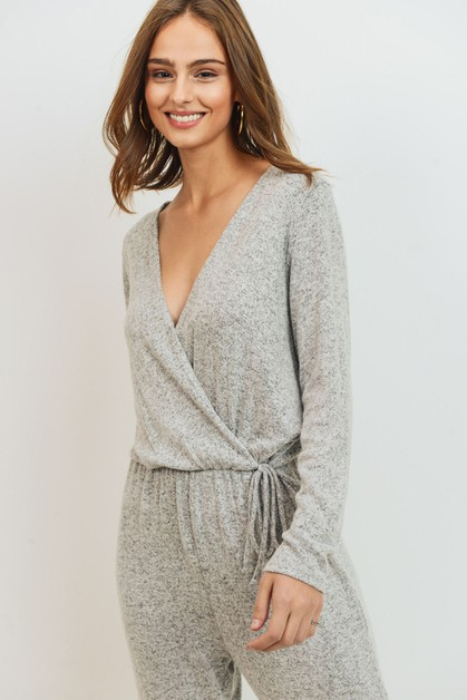 Wrap Long Sleeve Jumpsuit - orangeshine.com