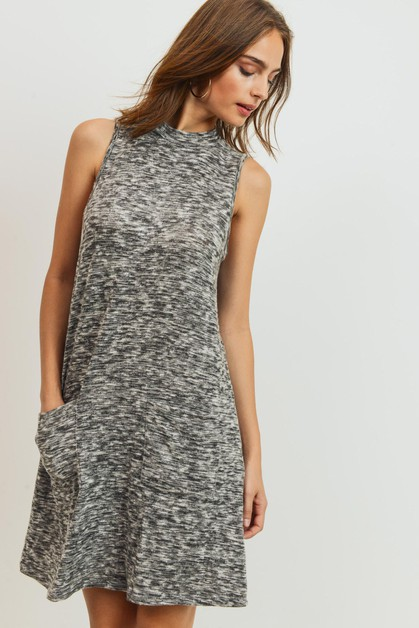 Sleeveless Mock Neck Dress - orangeshine.com