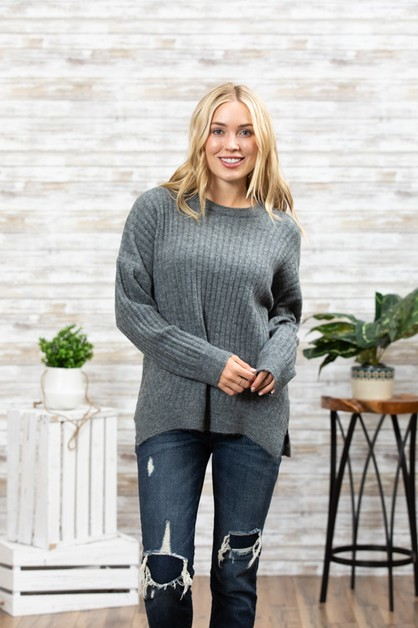 LONG SLEEVE SWEATER KNIT TOP - orangeshine.com