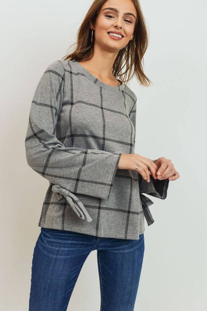 Long Sleeve Flanel Print Top - orangeshine.com
