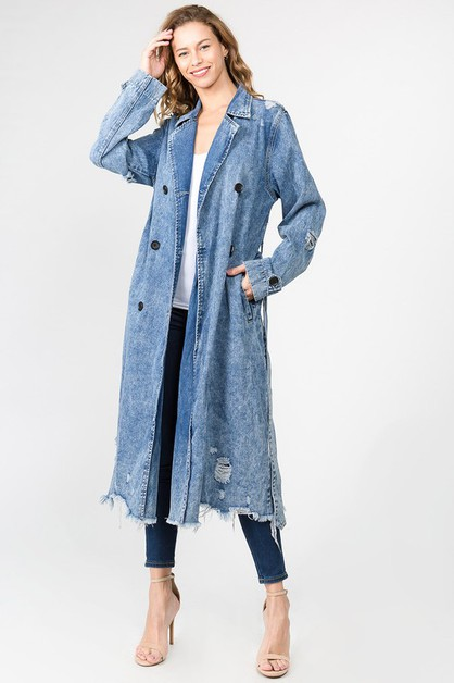 DENIM TRENCH COAT LONG JACKET - orangeshine.com