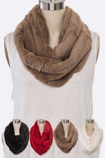 Plush Faux Fur Infinity Scarf Set - orangeshine.com