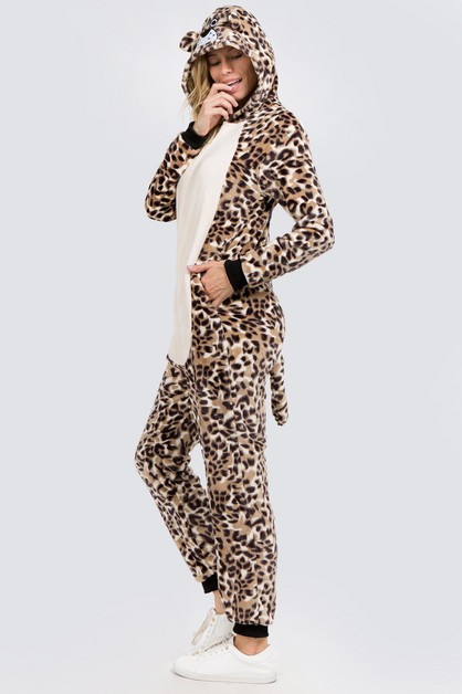 Plush Leopard Animal Onesie Pajama - orangeshine.com