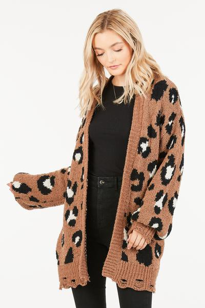 KNITTED LARGE LEOPARD CARDIGAN - orangeshine.com