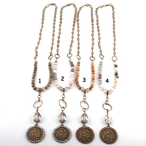 Natural stone Coin Necklace - orangeshine.com