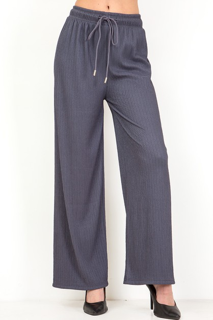 WAVE PLEATED WIDE LEG PANTS - orangeshine.com