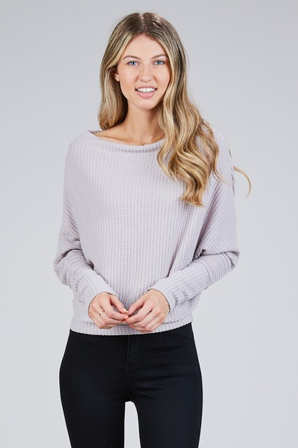 BRUSHED WAFFLE KNIT DOLMAN TOP - orangeshine.com
