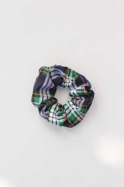 Navy Green Plaid Scrunchie - orangeshine.com