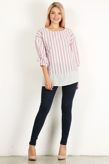 LAYERED RUCHED LACE UP TOP - orangeshine.com