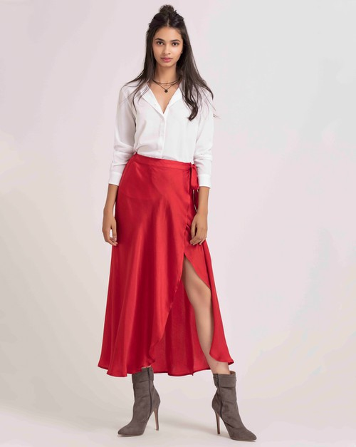 Long Wrap Skirt - orangeshine.com