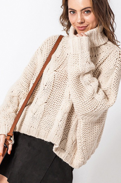TURTLE NECK CABLE KNIT SWEATER - orangeshine.com