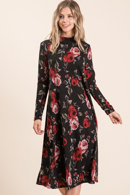 FLORAL HIGH NECK KNIT DRESS  - orangeshine.com