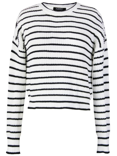 STRIPE KNITTED CREW NECK SWEATER - orangeshine.com