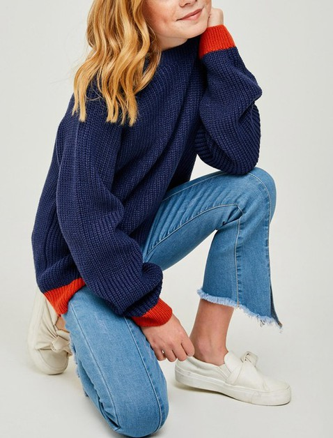 Colorblock Knit Pull-Over Sweater - orangeshine.com