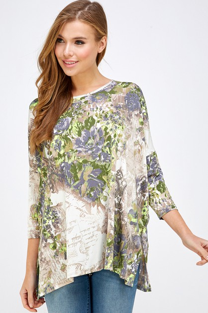 FLORAL SLIT SIDE OVER SIZE TOP - orangeshine.com