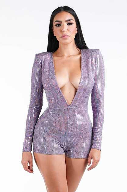 Deep V long sleeve romper - orangeshine.com
