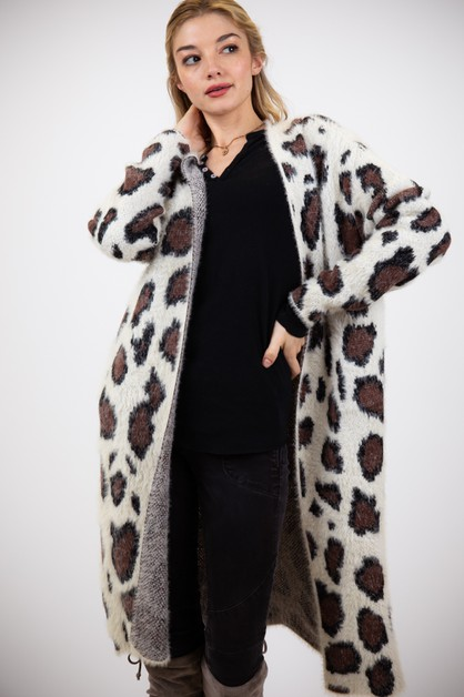 ANIMAL PRINT OPEN FRONT CARDIGAN - orangeshine.com
