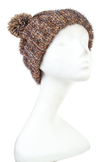 FUZZY RIBBED WINTER BEANIE  - orangeshine.com