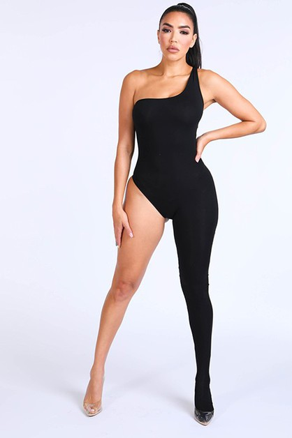 One shoulder One leg jumpsuit - orangeshine.com
