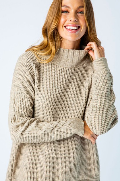 CHUNKY KNIT SPLIT BACK SWEATER - orangeshine.com