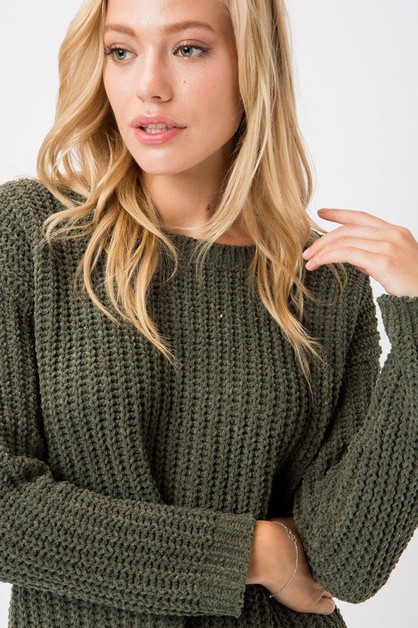 CHENILLE KNIT DESTROYED HEM  SWEATER - orangeshine.com