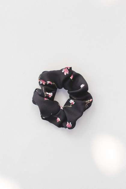 Black Floral Scrunchie - orangeshine.com