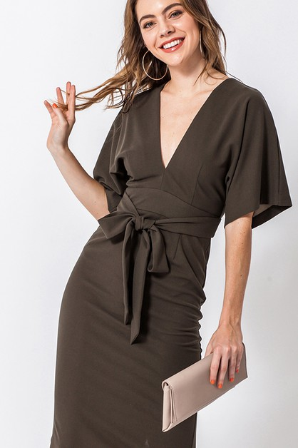 KIMONO MIDI DRESS WITH OPEN BACK - orangeshine.com