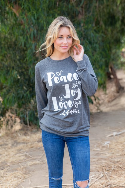 PEACE JOY LOVE SWEATSHIRT - orangeshine.com