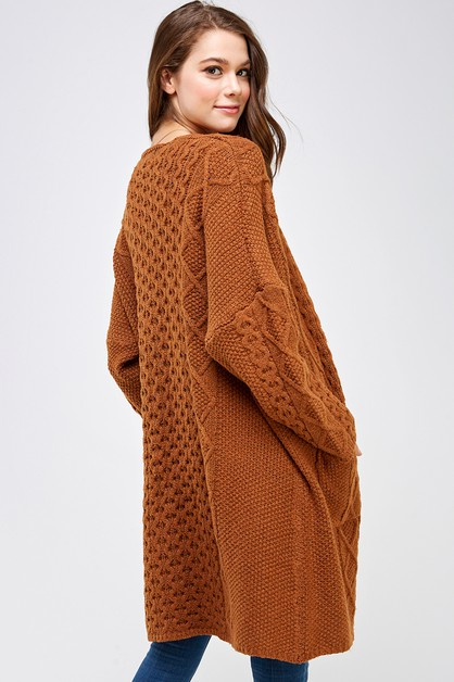 Cable Knitted Front Open Cardigan - orangeshine.com