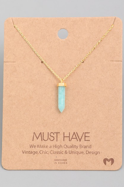 Semiprecious Stone Pendant Necklace - orangeshine.com