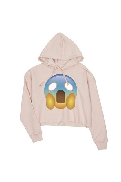 JCH073XX Emoji-Screaming Crop Hoodie - orangeshine.com