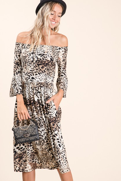 Off the Shoulder Animal Print Midi Dress - orangeshine.com