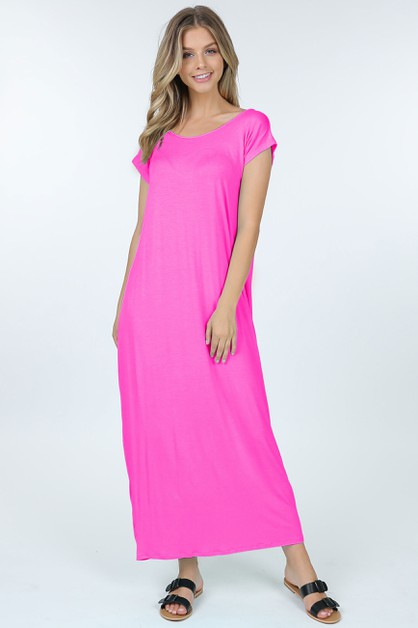 Short Sleeve Boat Neck Maxi Dress - orangeshine.com