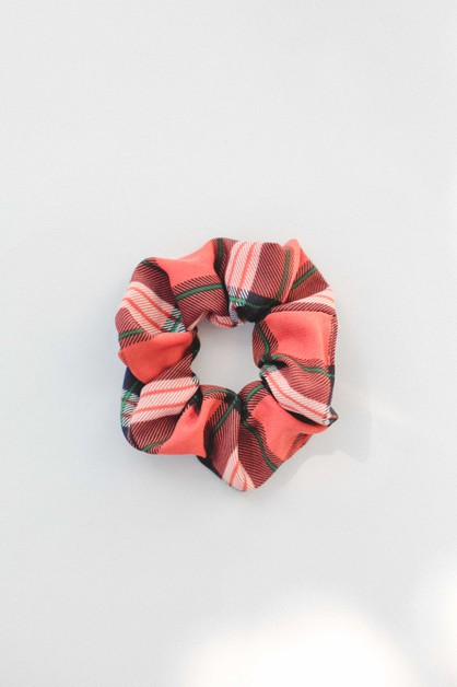 Burnt Orange Plaid Scrunchie - orangeshine.com