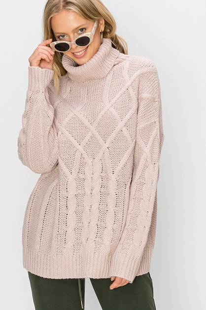 OVERSIZED CABLE KNIT SWEATER - orangeshine.com