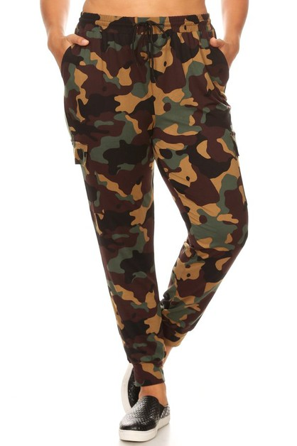 Plus Camo Cargo Joggers Sweatpants - orangeshine.com