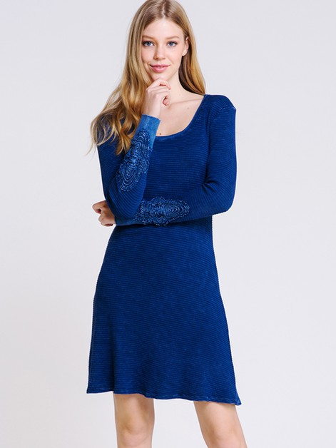 Crochet patch sleeve Dress - orangeshine.com