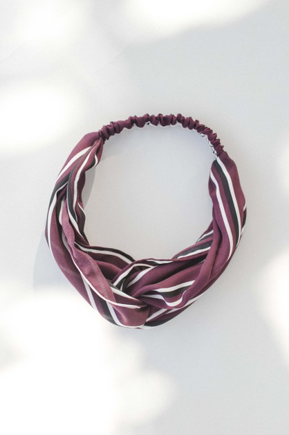 Maroon Stripe Headband - orangeshine.com