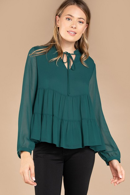 LONG SLEEVE DROP SHOULDER TIERED BLO - orangeshine.com