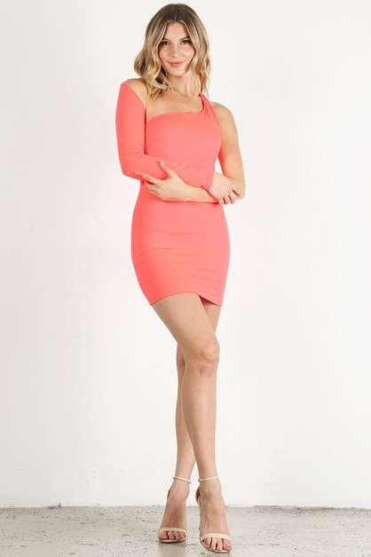 One Shoulder Mini Dress - orangeshine.com