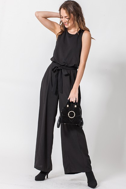 SLEEVELESS JUMPSUIT WITH WAIST TIE - orangeshine.com