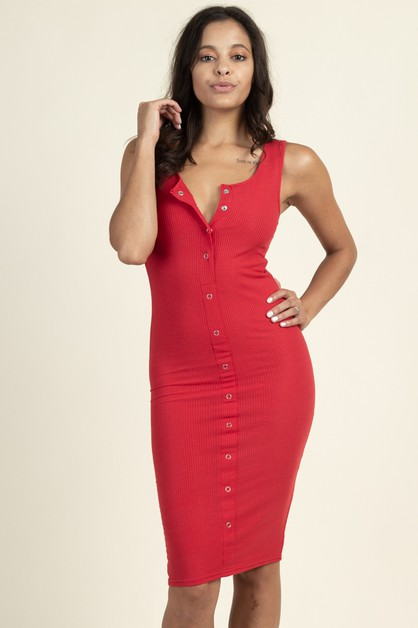 Button Down Bodycon Midi Dress - orangeshine.com